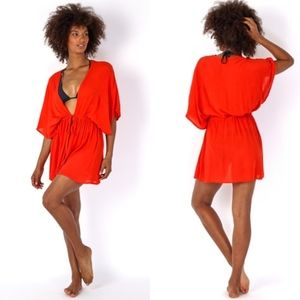 (Echo) Red Solid Open Front Caftan
